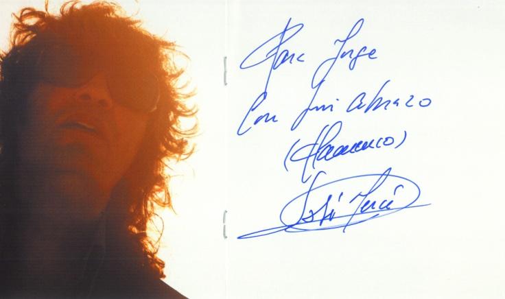 Dedicatoria de José Mercé en su disco Ruido